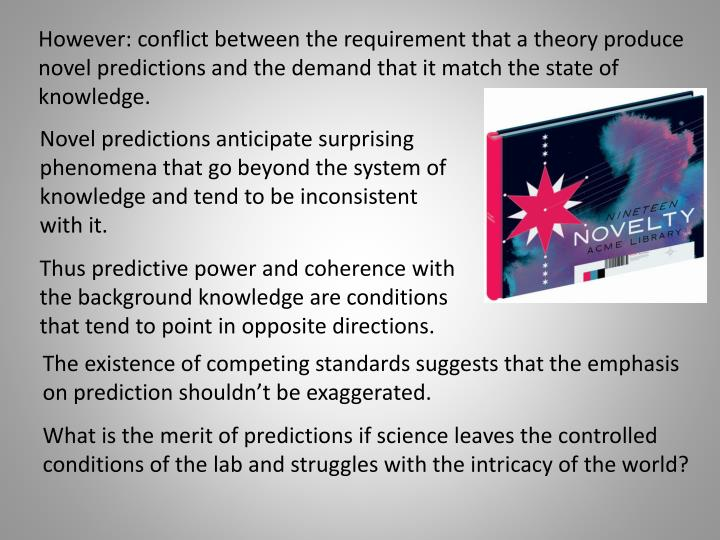 However: conflict between the requirement that a theory produce novel predictions and the demand that it match the state of knowledge.