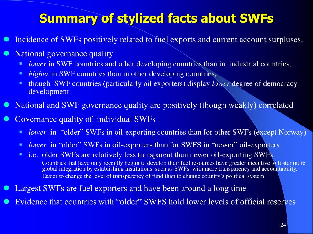 Summary of stylized facts about SWFs