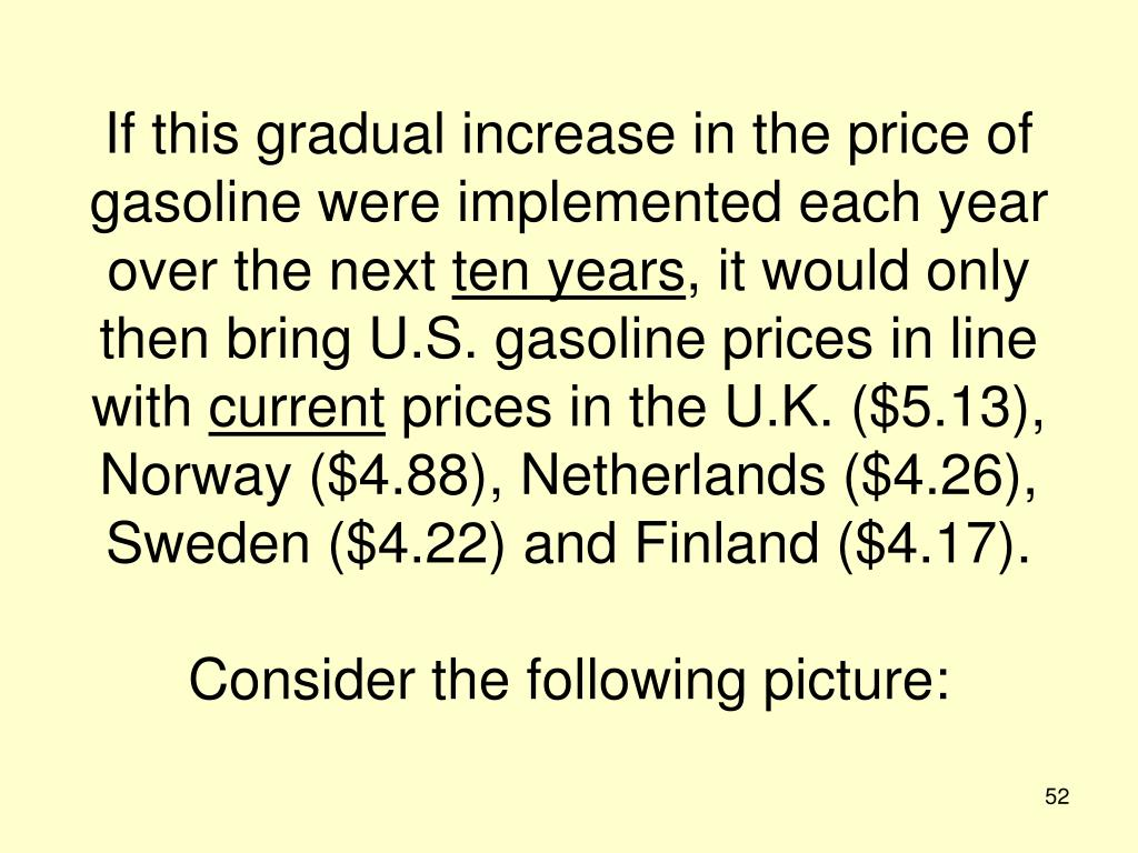 If this gradual increase in the price of gasoline were implemented each year over the next