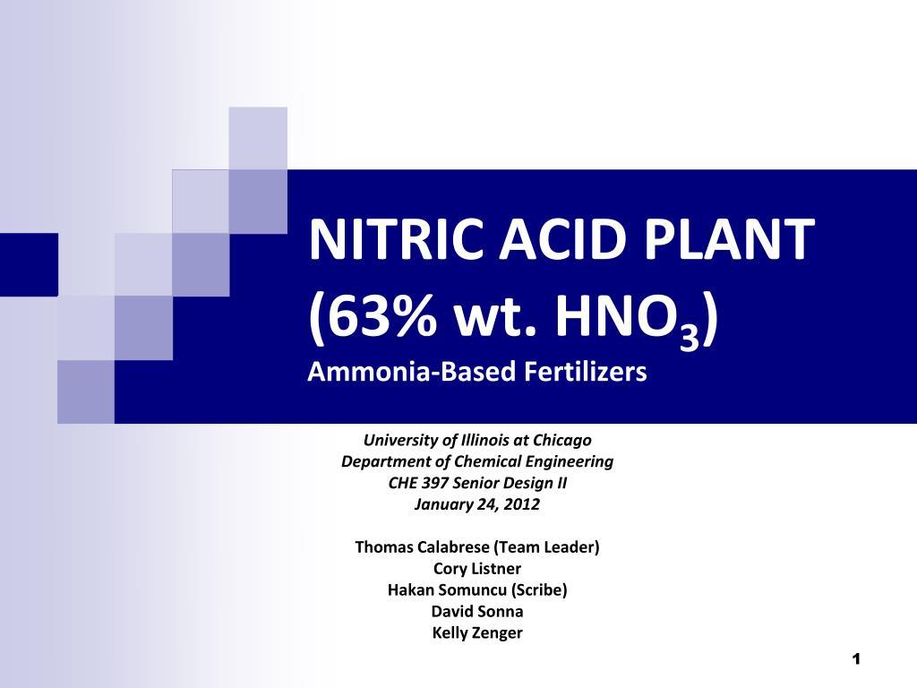 Ppt Nitric Acid Plant 63 Wt Hno 3 Ammonia Based Fertilizers Process Flow Diagram N
