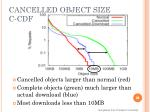 cancelled object size c cdf