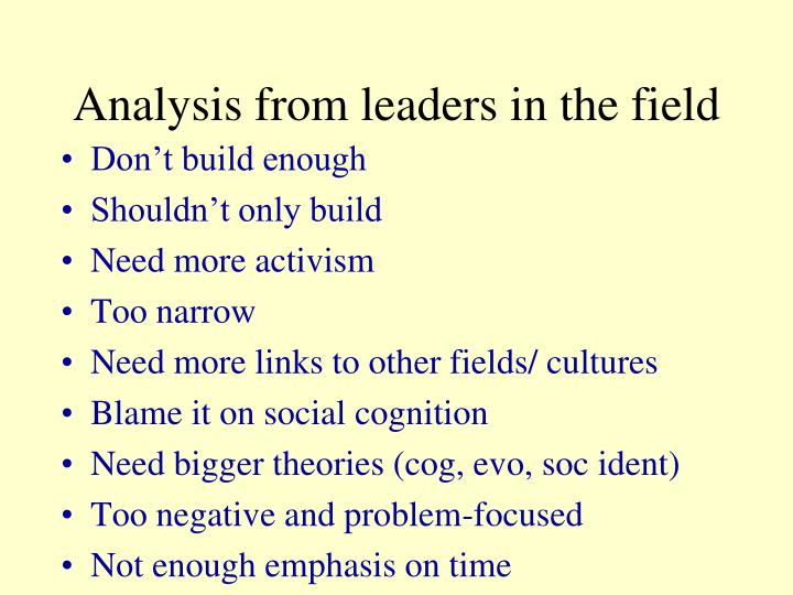 Analysis from leaders in the field