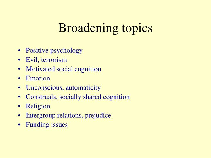 Broadening topics