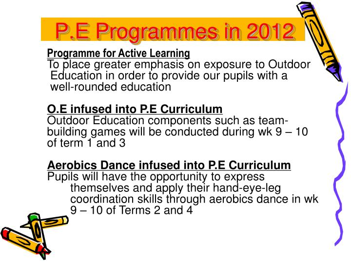 P.E Programmes in 2012