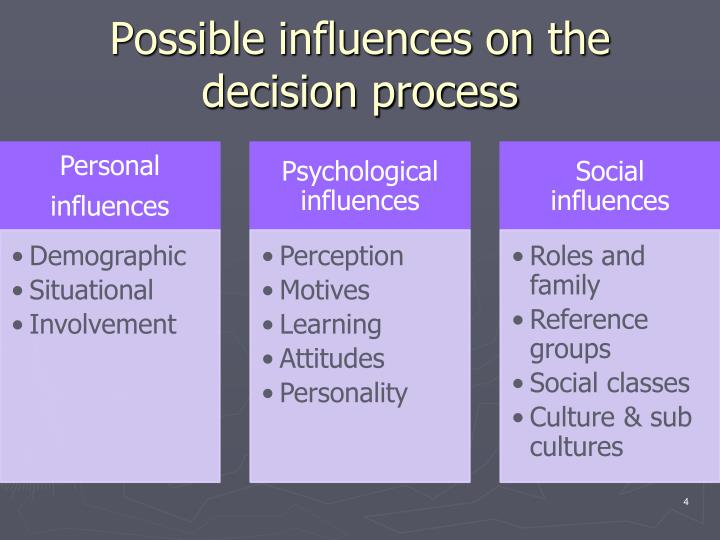 Possible influences on the decision process