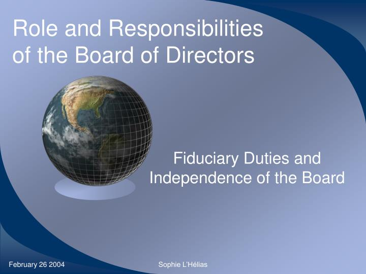 role and responsibilities of the board of directors n.