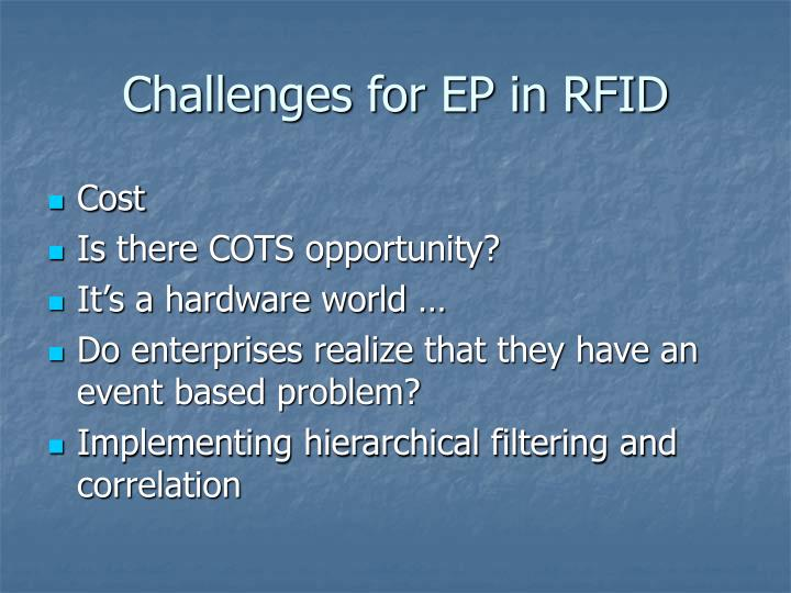 Challenges for EP in RFID
