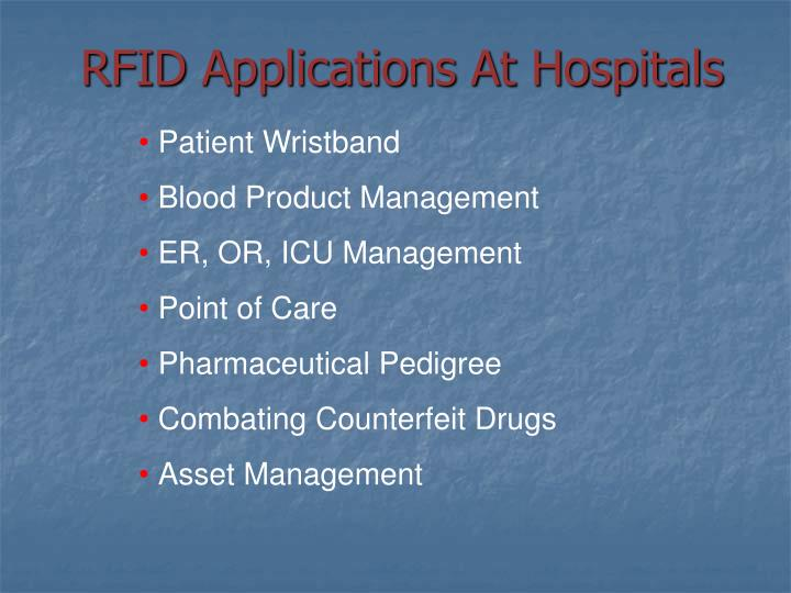 RFID Applications At Hospitals