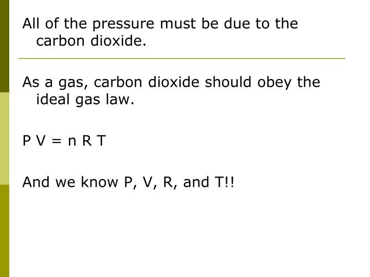All of the pressure must be due to the carbon dioxide.