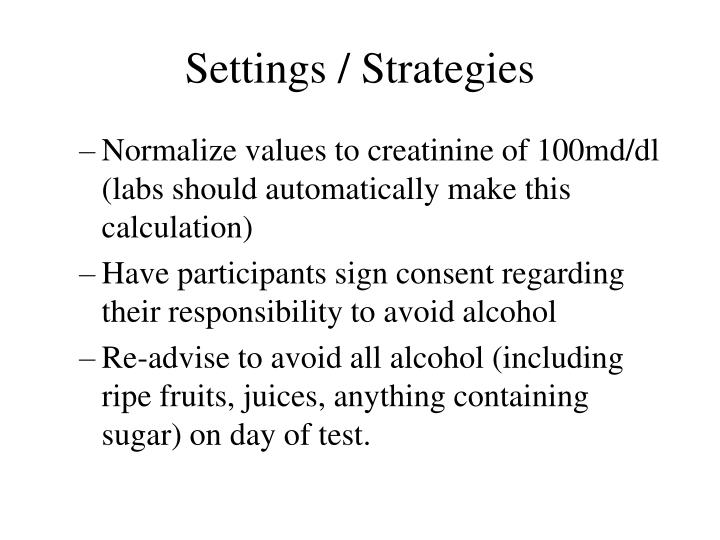 Settings / Strategies