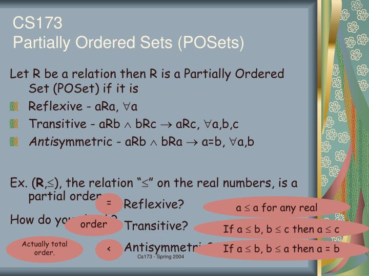 Cs173 partially ordered sets posets