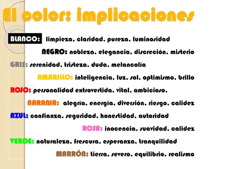 El color: implicaciones