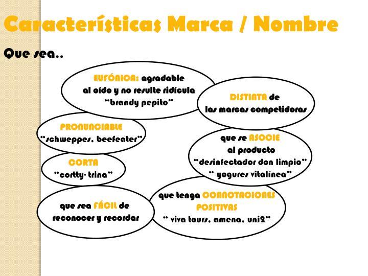 Características Marca / Nombre
