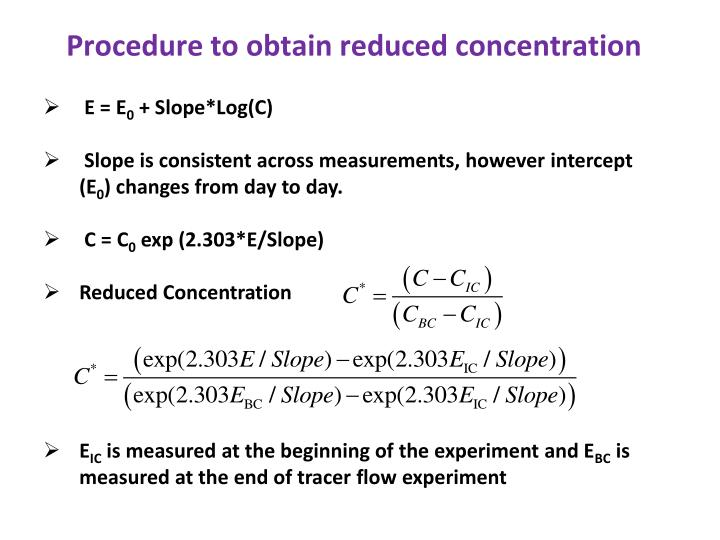 Procedure to obtain reduced concentration