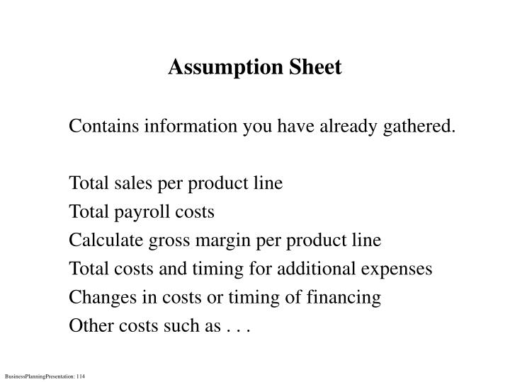 Assumption Sheet