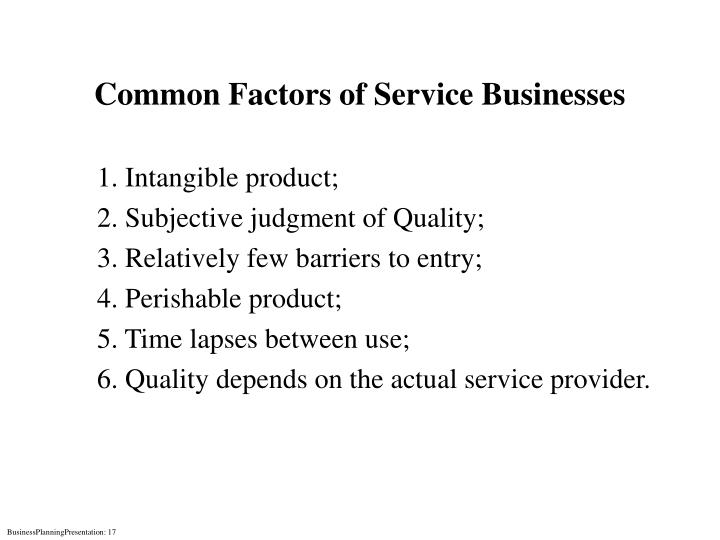 Common Factors of Service Businesses
