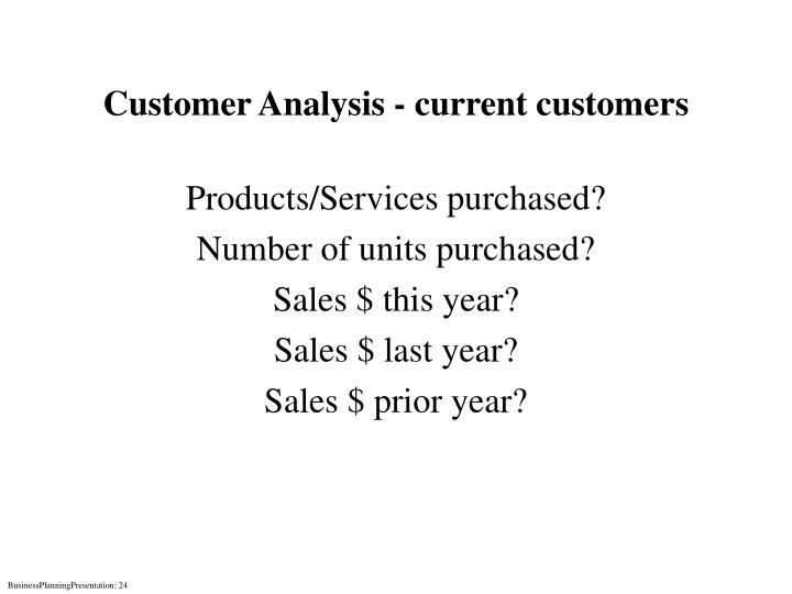 Customer Analysis - current customers