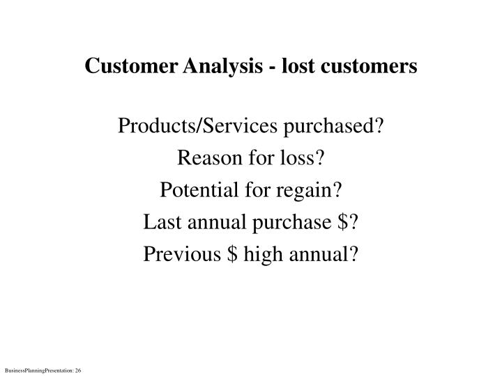 Customer Analysis - lost customers