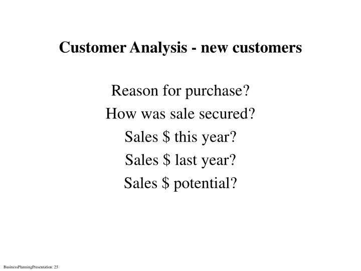 Customer Analysis - new customers