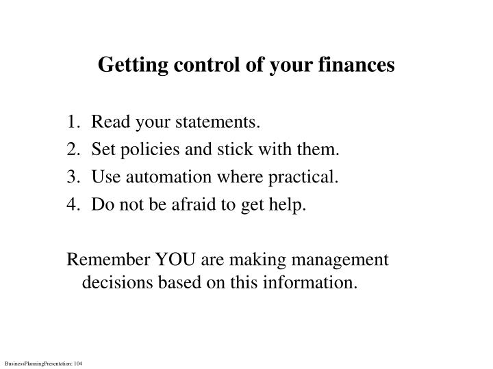 Getting control of your finances