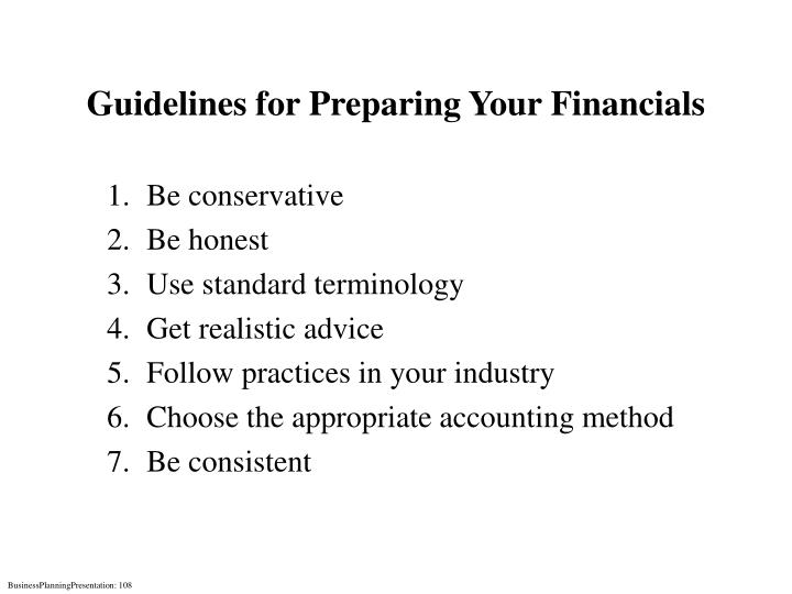 Guidelines for Preparing Your Financials