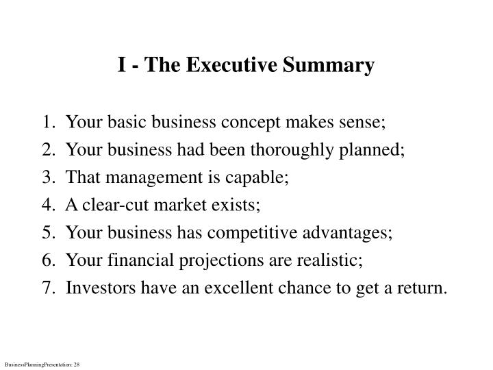 I - The Executive Summary