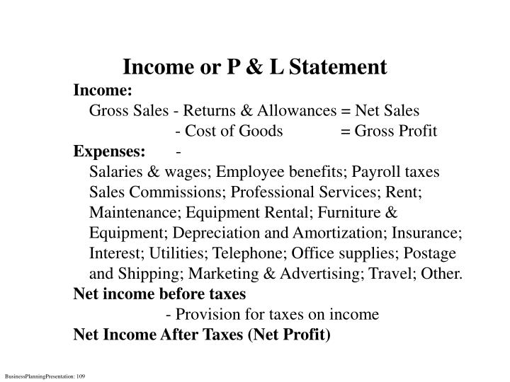 Income or P & L Statement