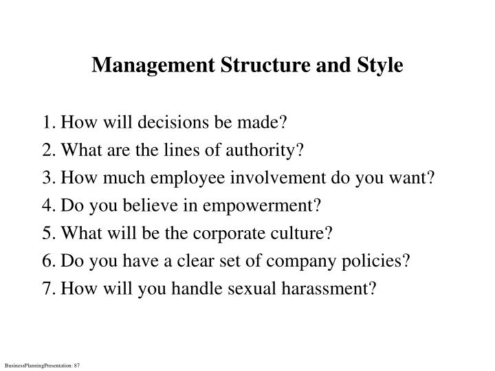 Management Structure and Style
