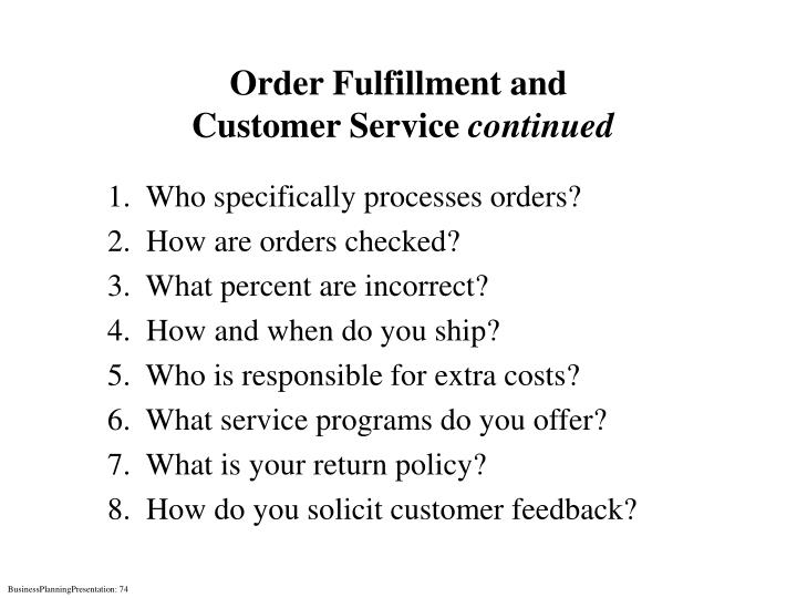 Order Fulfillment and