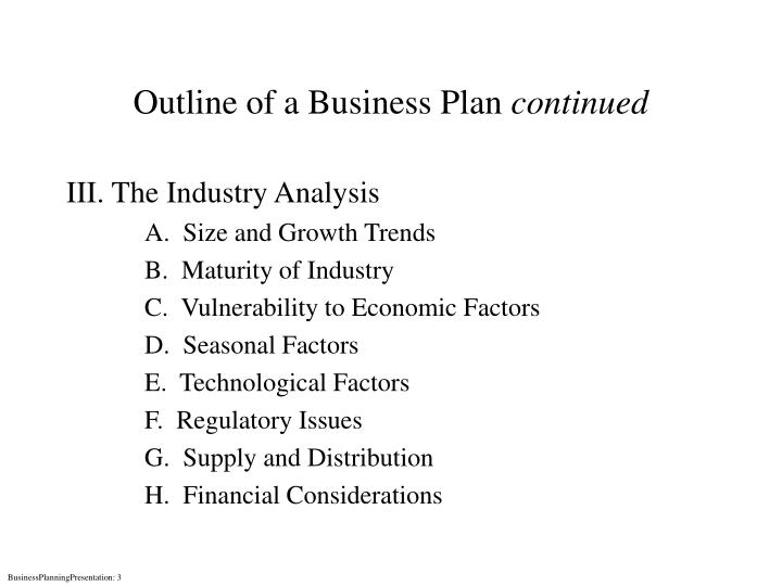 Outline of a business plan continued