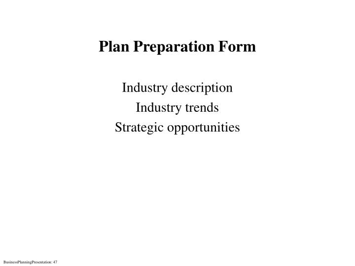 Plan Preparation Form