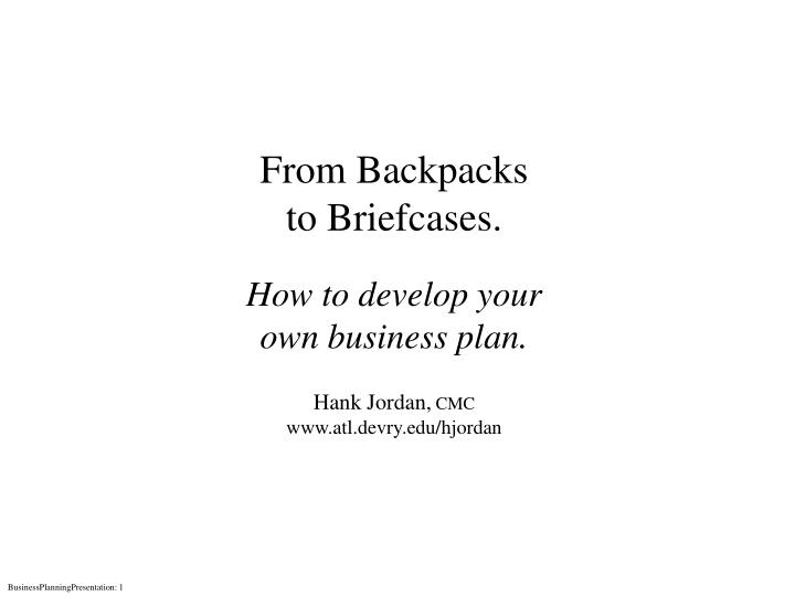 From Backpacks