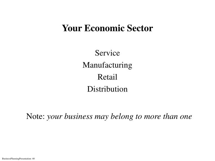 Your Economic Sector