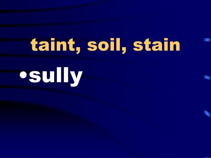 taint, soil, stain