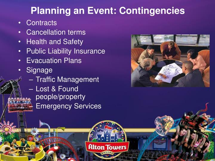 Planning an Event: Contingencies