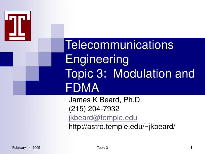 telecommunications engineering topic 3 modulation and fdma n.