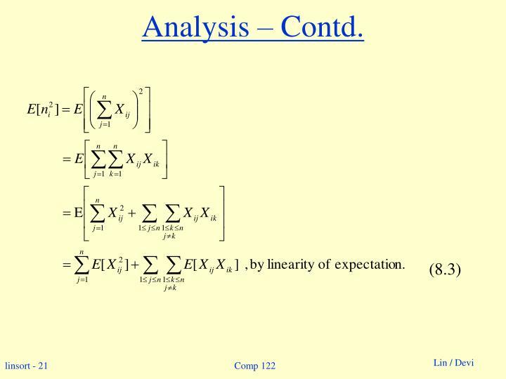 Analysis – Contd.