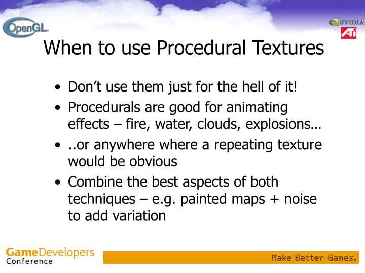 When to use Procedural Textures