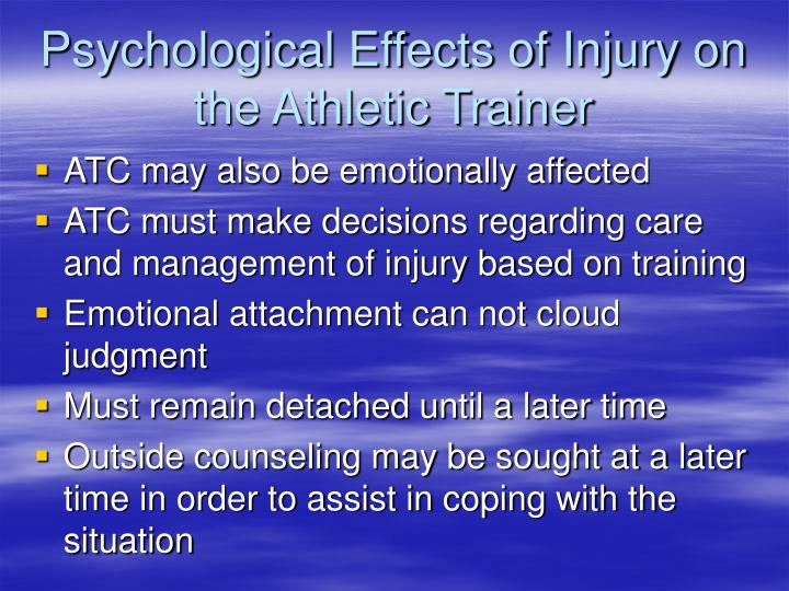 Psychological Effects of Injury on the Athletic Trainer