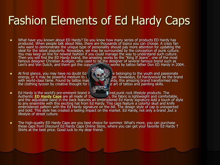 Fashion elements of ed hardy caps