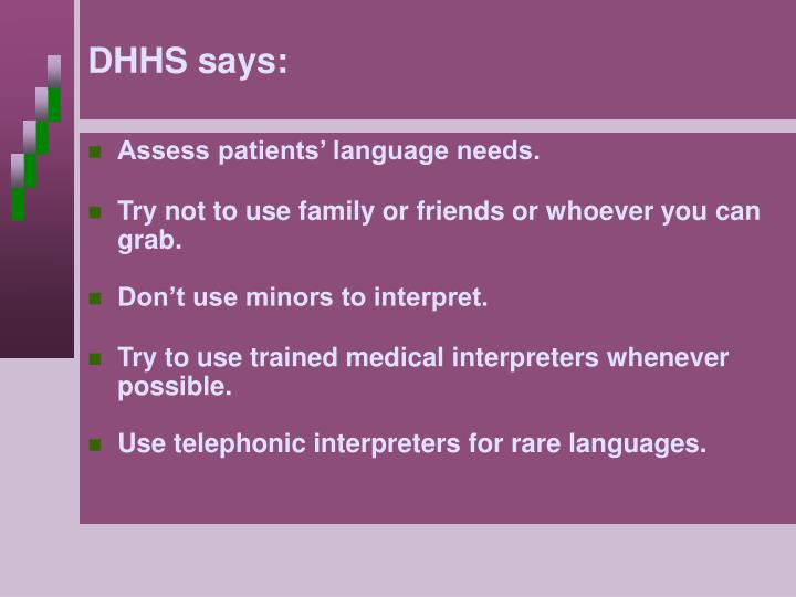 DHHS says: