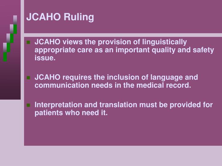 JCAHO Ruling