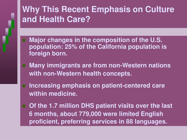 Why this recent emphasis on culture and health care