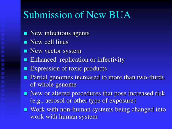 Submission of new bua