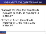 highlights for quarter mar 089