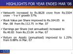 highlights for year ended mar 085