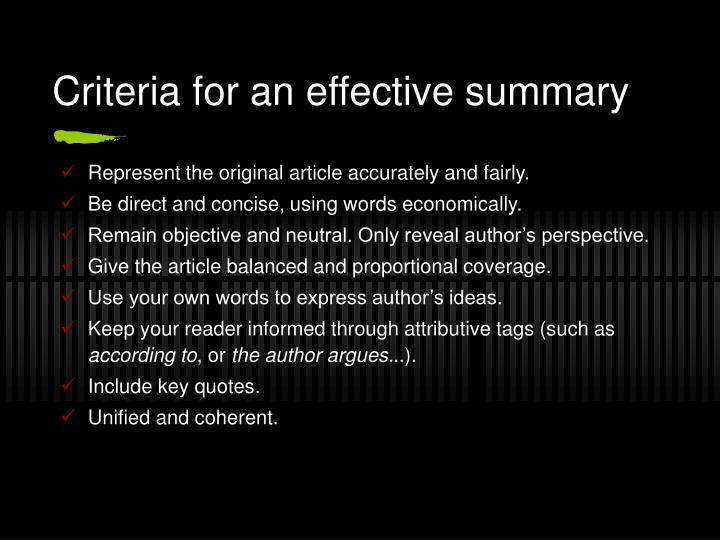 Criteria for an effective summary