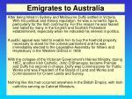 emigrates to australia