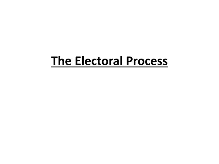 us electoral process essay Political parties and the electoral process political parties are the vehicles used by individuals contesting for various representative positions in government in an attempt to assume office the term political party broadly refers to the organization which provides the platform for politicians to ascend to power.