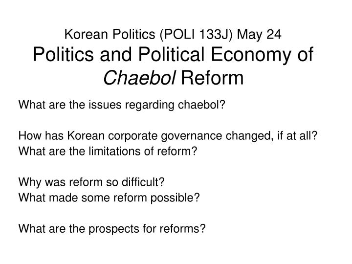 overview of chaebol firms corporate governance